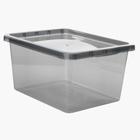 Úložný box BASIC BOX 20L s vekom sivá